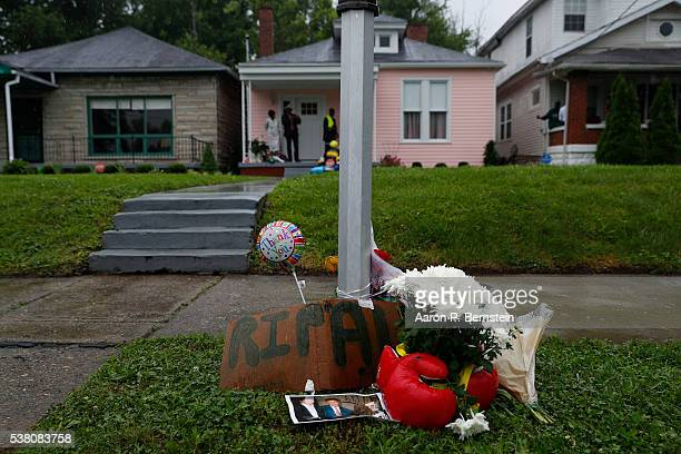 Flowers are seen outside Muhammad Ali's childhood home following his death June 4 2016 in Louisville Kentucky Ali died at a Phoenixarea hospital...