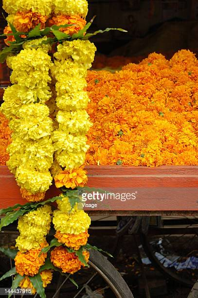 Flowers arranged on a cart