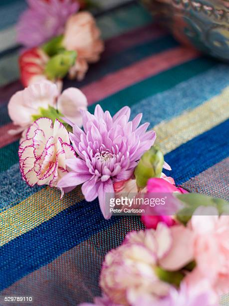 Flowers arranged on table