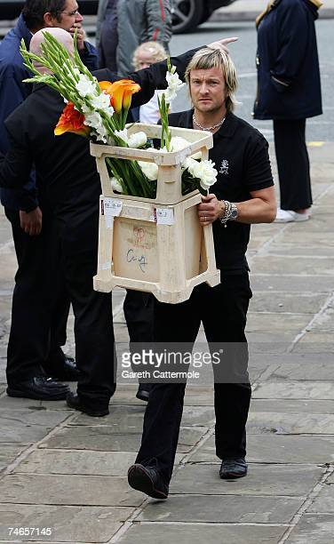 Flowers arrive at Manchester Cathedral for the wedding of footballer Gary Neville and Emma Hadfield on June 16 2007 in Manchester England