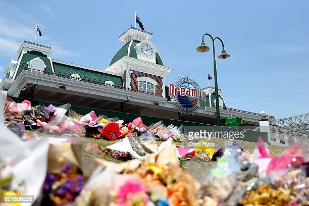 Flowers at a memorial out the front of Dreamworld on November 9 2016 in Gold Coast Australia The Gold Coast theme park has been closed since four...