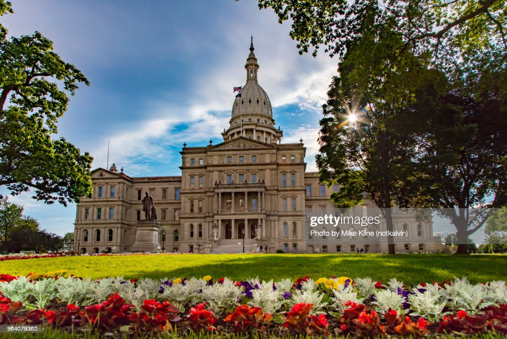 Flowers at Lansing's Capitol Building : Stock Photo