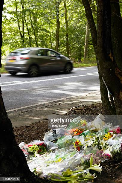 Flowers at site of fatal road traffic accident