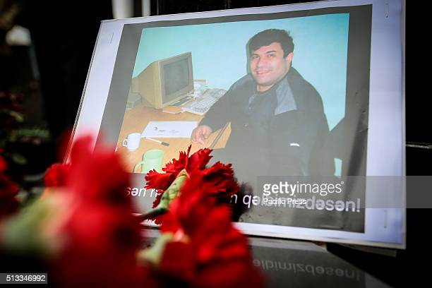Flowers at today's 11 year death anniversary since the assassination of Elmar Huseynov the editor of the magazine 'Monitor' He was shot dead on the...