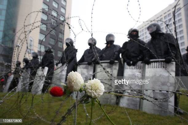 TOPSHOT Flowers attached to a barbed wire fence during a rally to protest against the disputed August 9 presidential elections results in Minsk on...
