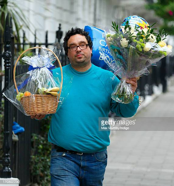 Flowers balloons and a fruit basket being delivered to the London Clinic where Prince Philip Duke of Edinburgh who celebrates his 92nd birthday today...