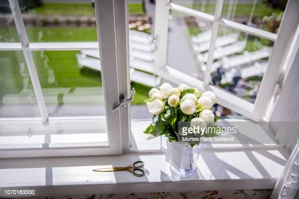 flowers by the window in hoel gard, norway - rebord de fenêtre photos et images de collection