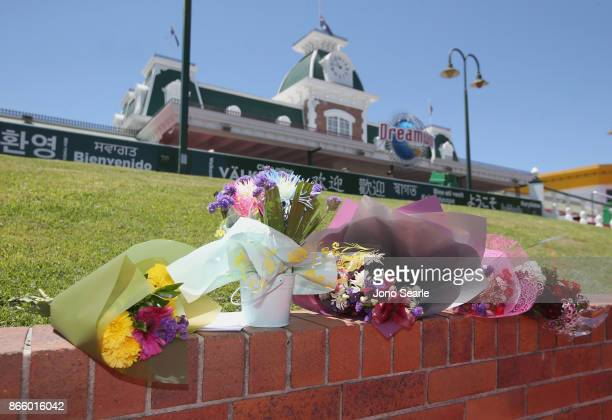 Flowers can be seen at the entrance to Dreamworld on October 25 2017 in Gold Coast Australia Four people were killed following an accident on the...