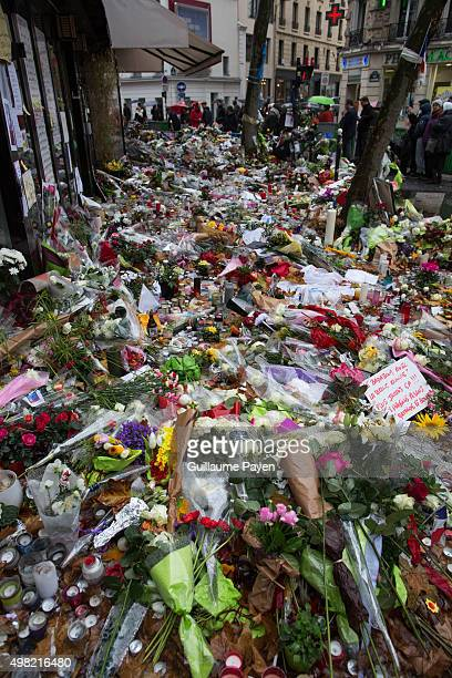"""Flowers, candles and messages left as a memorial in """"La Belle Equipe"""" restaurant in the 11th district of Paris, following a series of coordinated..."""