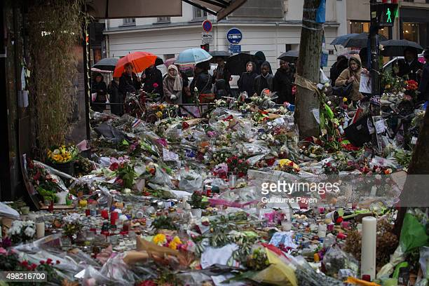 Flowers candles and messages left as a memorial in La Belle Equipe restaurant in the 11th district of Paris following a series of coordinated...