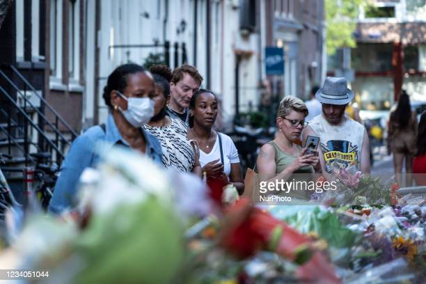 Flowers, candles and other attributes at the place where Peter R. De Vries was shot, in Amsterdam, Netherlands, on July 18, 2021. Dutch crime...