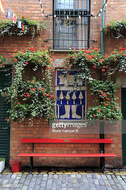 flowers decorated street of commercial court - belfast stock pictures, royalty-free photos & images