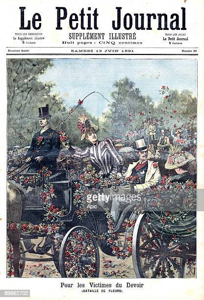 Flowers fair organized in Paris by Solidarity Fund for the Victims of Duty to collect funds frontpage of newspaper Petit Journal june 13 1891
