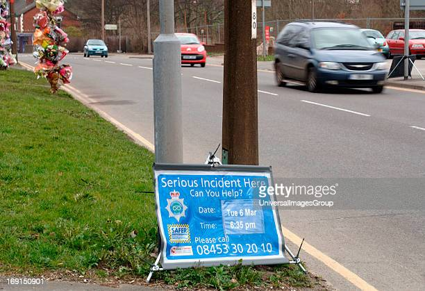 Flowers Fixed To PostsAt The Scene Of A Fatal Road AccidentIn Staffordshire England