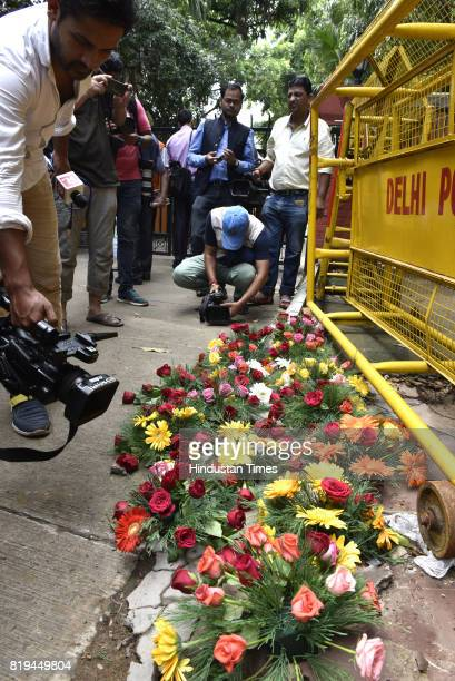 Flowers for decoration at 10 Akbar Road where NDA presidential candidate Ram Nath Kovind is waiting for election result on July 20 2017 in New Delhi...