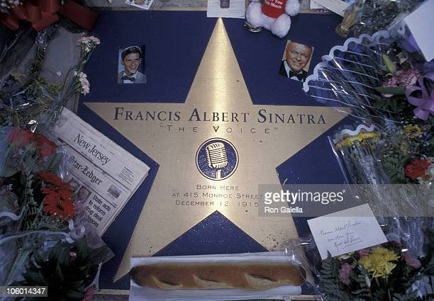 Flowers for Frank Sinatra during Frank Sinatra Memorial Hoboken New Jersey at Birth Place of Frank Sinatra in Hoboken New Jersey United States