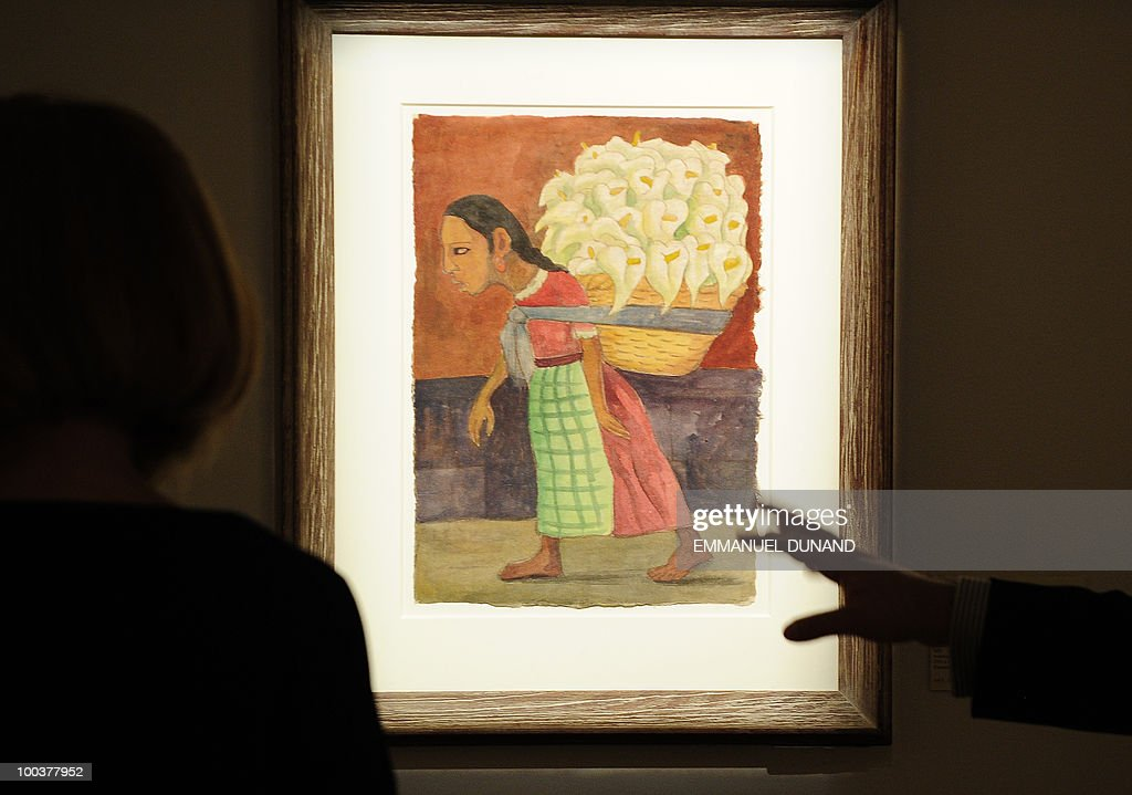 'Flowers for the Market' by Diego Rivera is on display during a preview of Christie's Latin American Art auctions, May 24, 2010 in New York. Christie's will hold its Latin American Art auctions on May 26 and 27, 2010. AFP PHOTO/Emmanuel Dunand