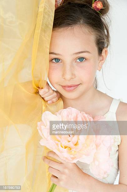 flowers for you! - little girl giving head stock photos and pictures