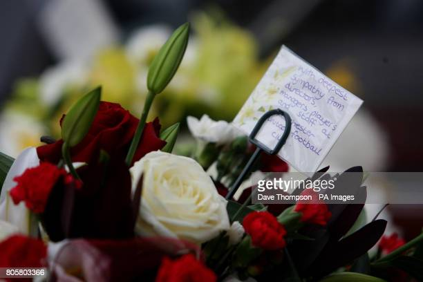 Flowers from Manchester United in the hearse of Busby Babe Albert Scanlon at All Souls Church in the Weaste area of Salford