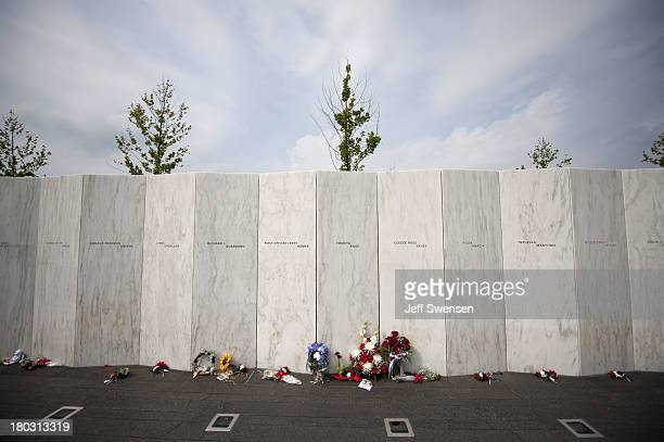 Flowers grace the names wall following a visit by United States Secretary of the Interior Sally Jewell at the Flight 93 National Memorial during...