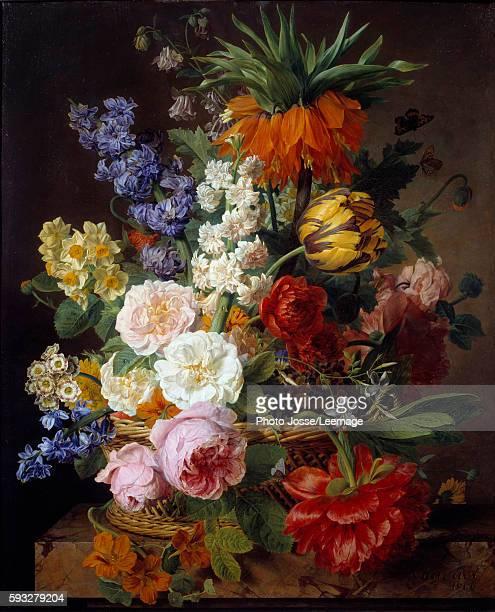 Flowers in a basket Painting by Jan Frans van Dael 1806 053 x 065 m BeauxArts Museum Lyon France