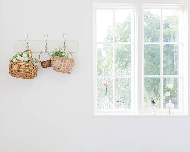 Flowers In Baskets On Wall Wall Art