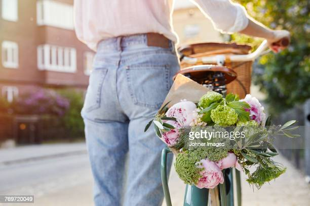 Flowers in bicycle basket