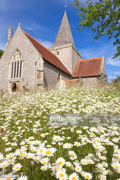 Flowers in churchyard; Alfriston; East Sussex;