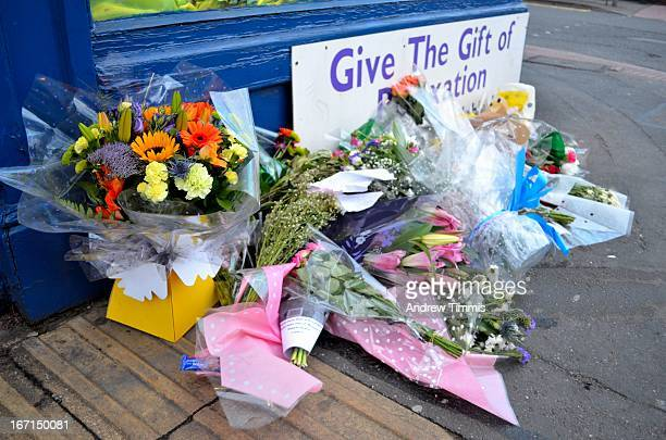 Flowers in front of the birthplace of Margaret Thatcher, Baroness Kesteven, first female Prime Minister of Great Britain and Northern Ireland, six...