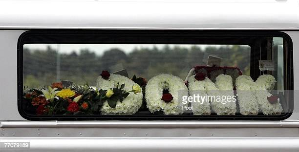 Flowers in the Land Rover hearse carrying the coffin of former quad bike champion Graeme Duncan to his funeral on September 28 2007 in Edinburgh...