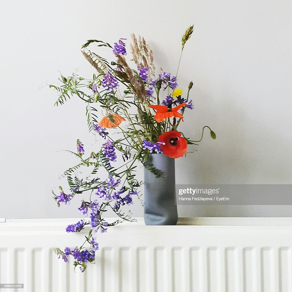 Flowers In Vase At Home Against White Wall : Stock Photo