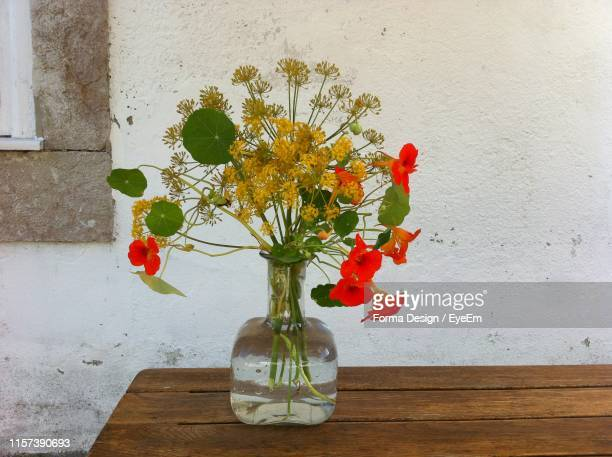flowers in vase on table against wall - forma stock pictures, royalty-free photos & images