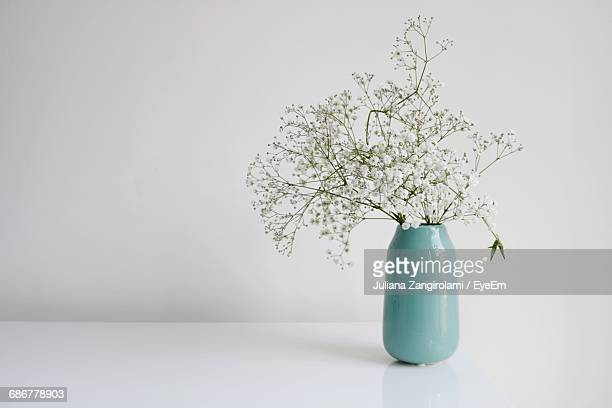 flowers in vase on table against wall - 花瓶 ストックフォトと画像
