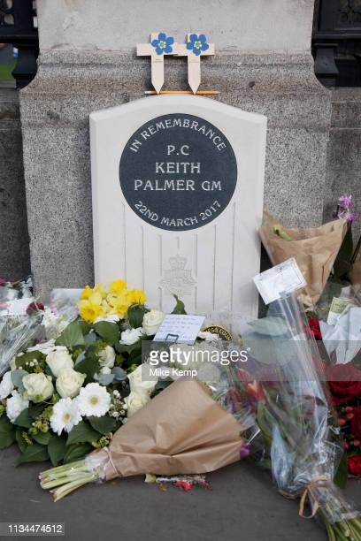 Flowers laid at the memorial in remembrance to PC Keith Palmer in Westminster, London, England, United Kingdom. Keith Palmer, was a British police...