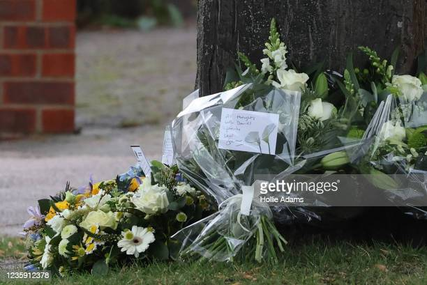 Flowers laid by Keir Starmer, leader of the Labour Party, at Belfairs Methodist Church on October 16, 2021 in Leigh-on-Sea, United Kingdom....