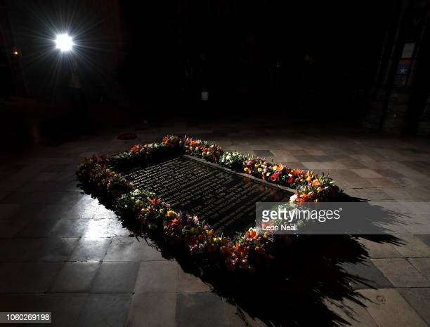 Flowers laid by Queen Elizabeth II and German President Dr FrankWalter Steinmeier lay together at the grave of The Unknown Warrior after a service at...