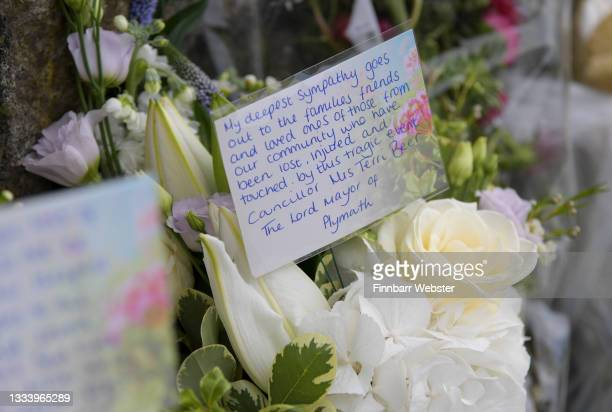 Flowers laid from The Lord Mayor of Plymouth at Royal Navy Avenue on August 13, 2021 in Plymouth, England. Police were called to a serious firearms...