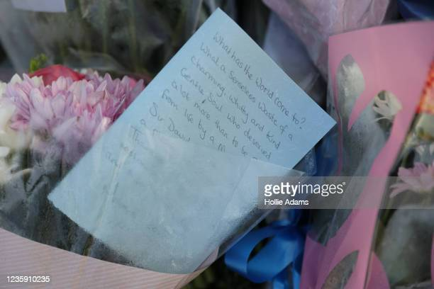 Flowers laid near Belfairs Methodist Church on October 16, 2021 in Leigh-on-Sea, United Kingdom. Counter-terrorism officers are investigating the...