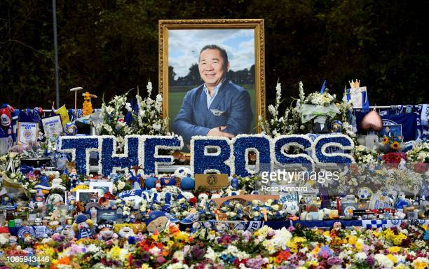 Flowers laid near the King Power Stadium memory of Chairman Vichai Srivaddhanaprabha during the Premier League match between Leicester City and...