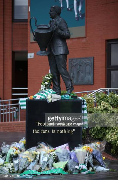 Flowers laid out in tribute to Tommy Gemmell during the Ladbrokes Scottish Premiership match at Celtic Park Glasgow
