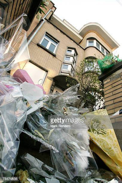Flowers lay at the entrance of the house of the Mokadem family at the General Jaques Avenue March 2 2007 in Nivelles Belgium The Belgian mother...