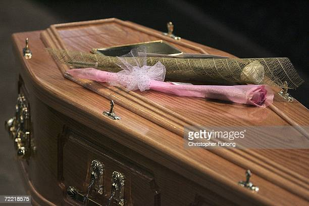Flowers lay on the coffin of snooker star Paul Hunter during his funeral at Leeds Parish Church on October 19 Leeds England The three time masters...