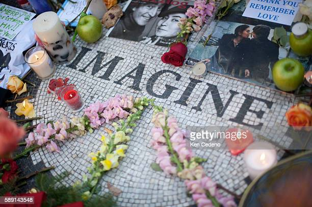 Flowers layed by fans of John Lennon December 8 at Strawberry Fields in Central Park New York NY Lennon was murdered 20 years ago this day in front...