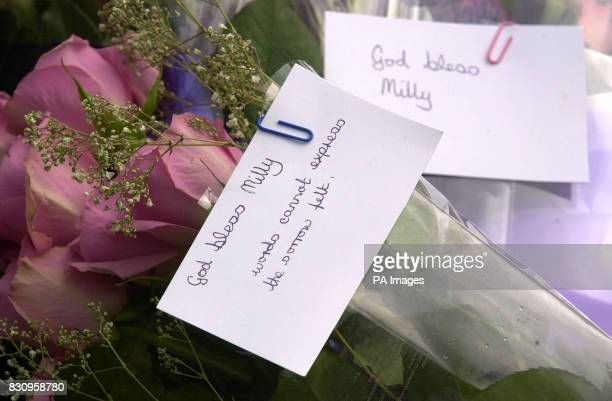 Flowers left in tribute to Milly Dowler at the police road block near Yateley Heath Minley near Fleet in Hampshire where what are believed to be...