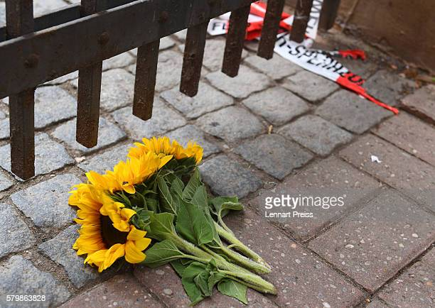 Flowers lie near the area of a suicide bomb attack at a music festival on July 25 2016 in Ansbach Germany According to police a 27yearold Syrian who...