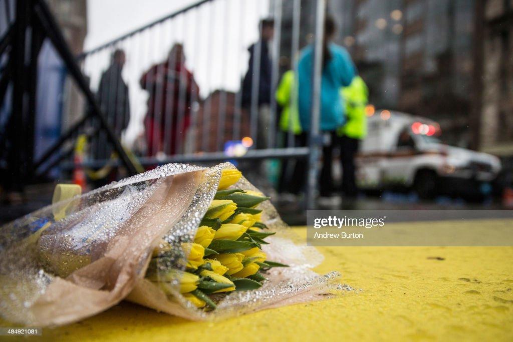 Boston Commemorates One-Year Anniversary Of Marathon Terror Bombings : News Photo