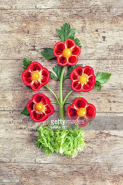 Flowers made with peppers,celery,tomatoes & endive