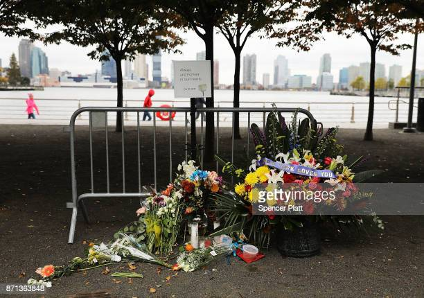 Flowers mark the location where terrorist Sayfullo Saipov crashed into a cyclist along a Manhattan bike path during a rampage with a truck last...