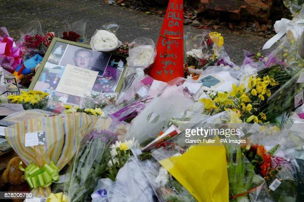 Flowers mark the spot where five boys were killed in a car accident last weekend in Hastings Sussex 2nd November 2005 Relatives of five teenagers...