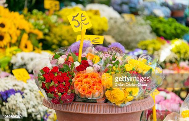 Flowers market stall in Rome, Italy